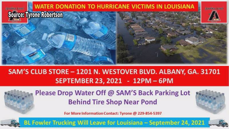They are accepting water and toiletries.