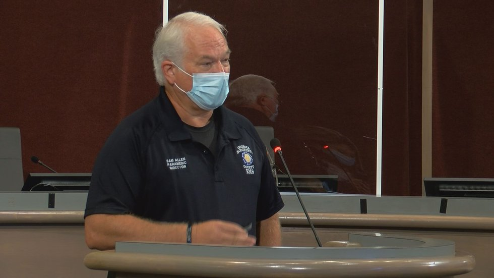 Dougherty County EMS Director Sam Allen at the Friday COVID-19 task force meeting in Albany.