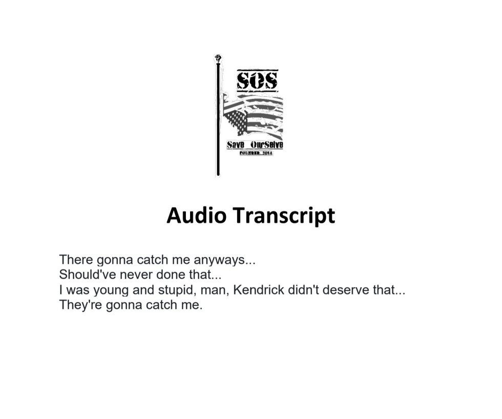 A transcript of the audio recording that Kendrick Johnson's family gave to the Lowndes County...