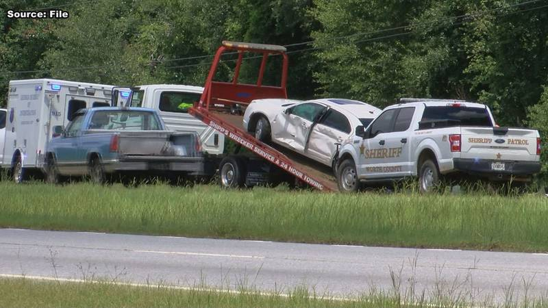 Antwain Wade's car being towed after a pit maneuver was used on it.