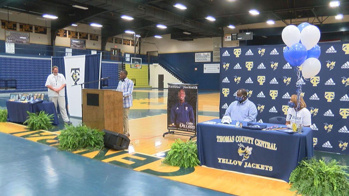 Thomas County Central celebrates Dillard signs swimming scholarship