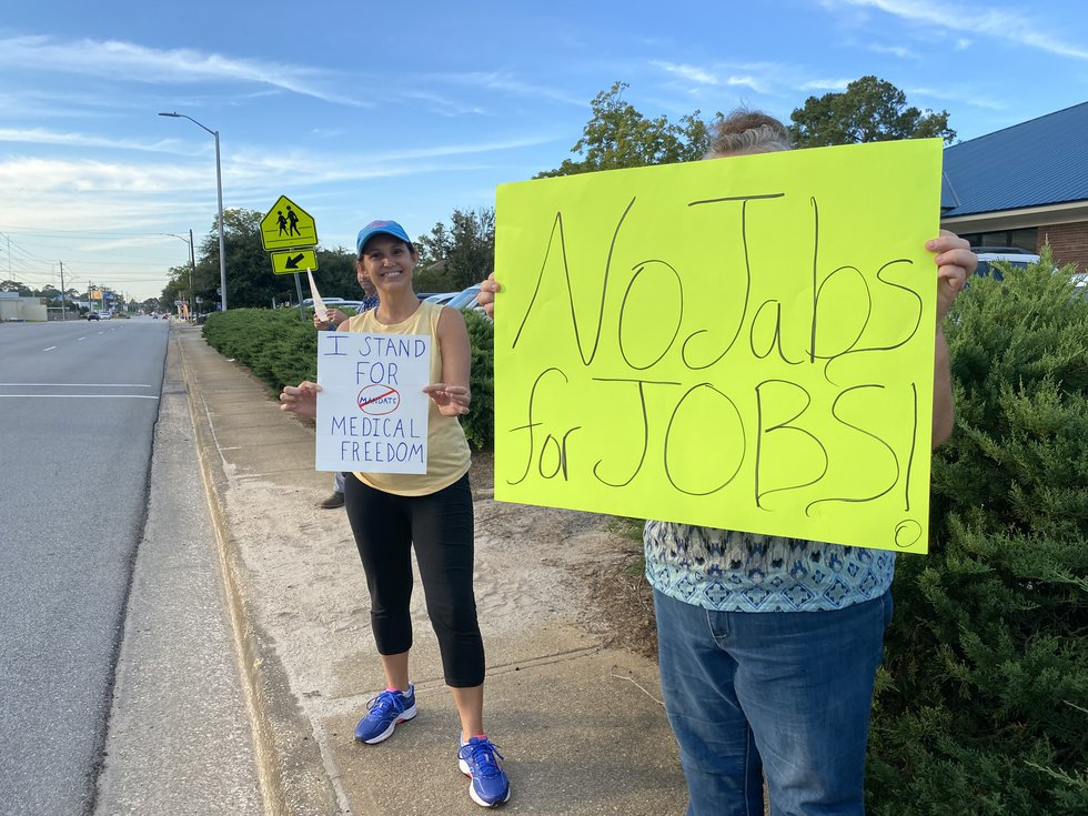 Protesters outside of Phoebe Putney Memorial Hospital's north campus in Albany on September 28,...