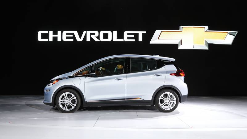 FILE - In this Jan. 9, 2017 file photo the Chevrolet Bolt is on display at the North American...