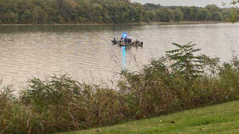 Crews search the Ohio River for a car Thursday.
