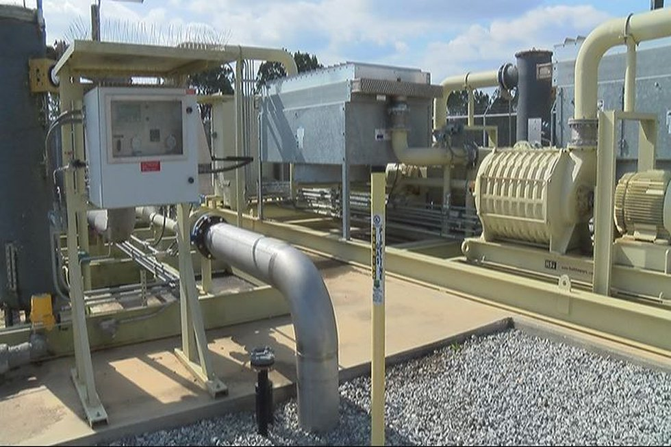 A station at the Dougherty County landfill which vacuums methane gas from landfill wells before...