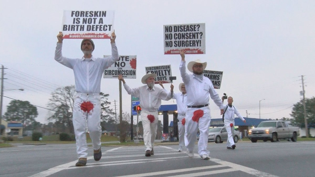 A group of men protesting circumcisions made a stop in Albany Sunday. (Source: WALB)