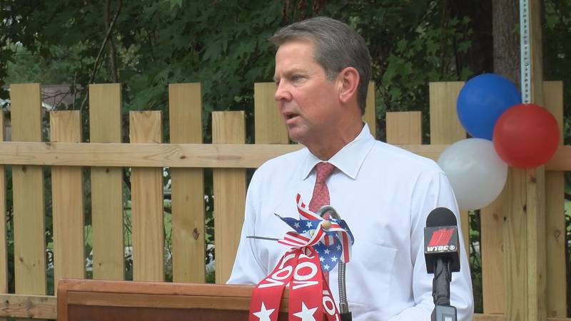 Georgia Governor Brian Kemp stopped in Richmond Hill to discuss the state's progress as the...