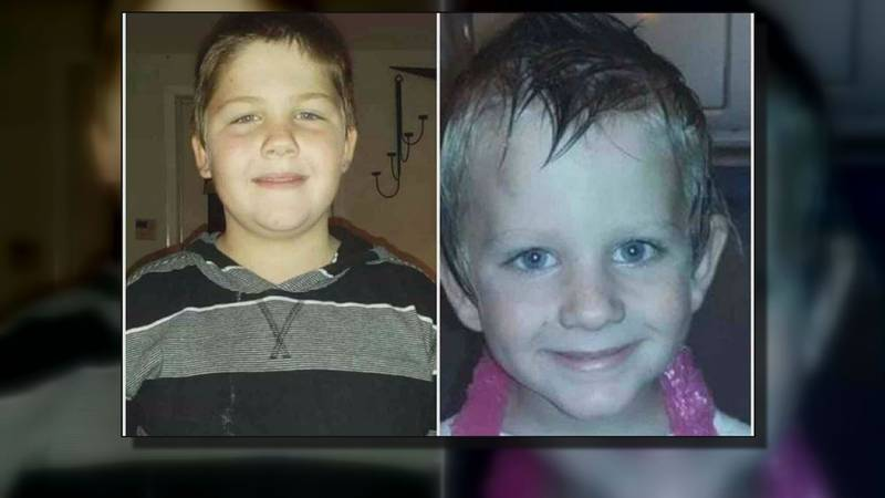 Noah Palmer, 10, is pictured on the left and his little brother, Dylan Wolfe, is pictured on...