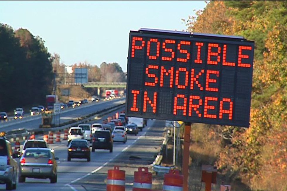 Officials urged people to sloe down because of heavy smoke