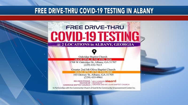 The details for the free drive-thru COVID-19 testing available in Albany.