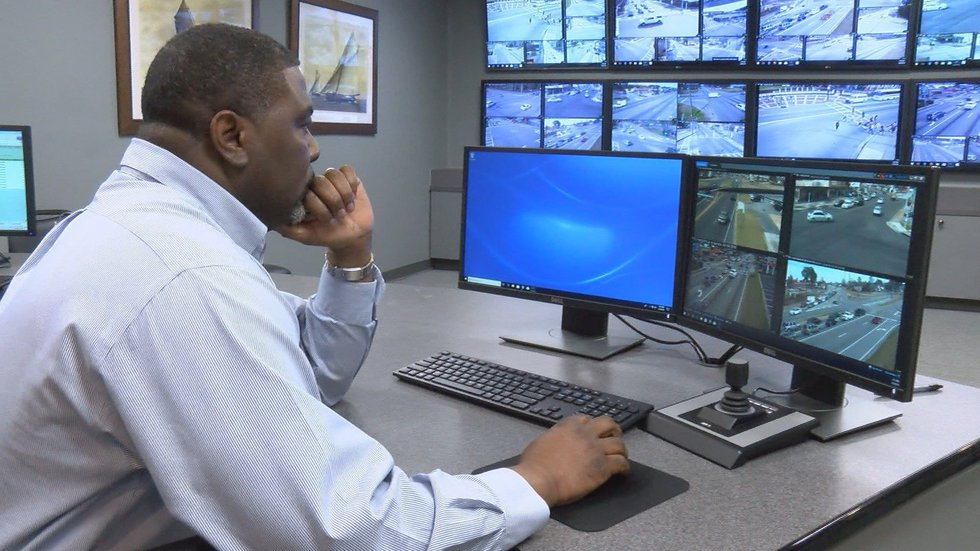 Traffic Manager Larry Ogden reviewing street cameras placed throughout the city. (Source: WALB)