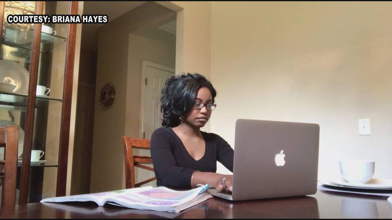 University of Georgia student, Briana Hayes, working on her online classes.