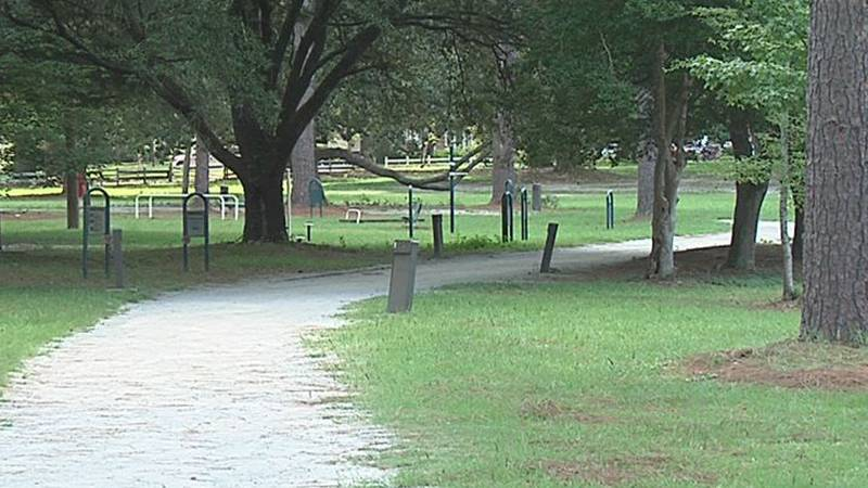 An empty trail at Tift Park in Albany. Trails are lonely places on hot afternoons such as the...