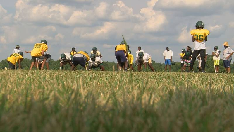 Terrell County lines up for a play during practice