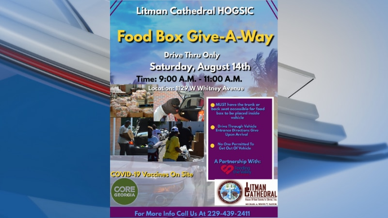 Litman Cathedral will host a food box giveaway on Saturday.