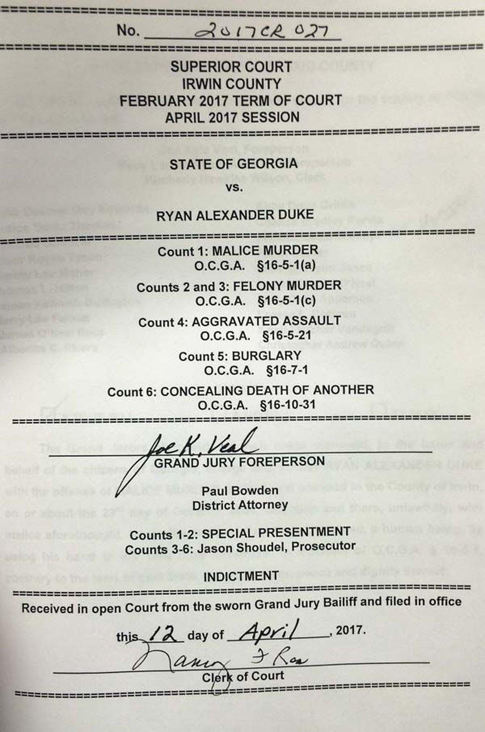The signed true bill (Source: WALB)