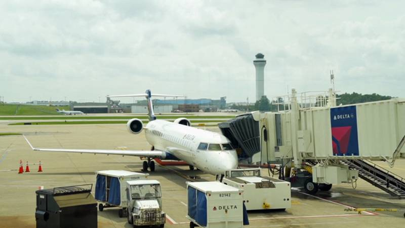 A Delta airliner on an airport tarmac