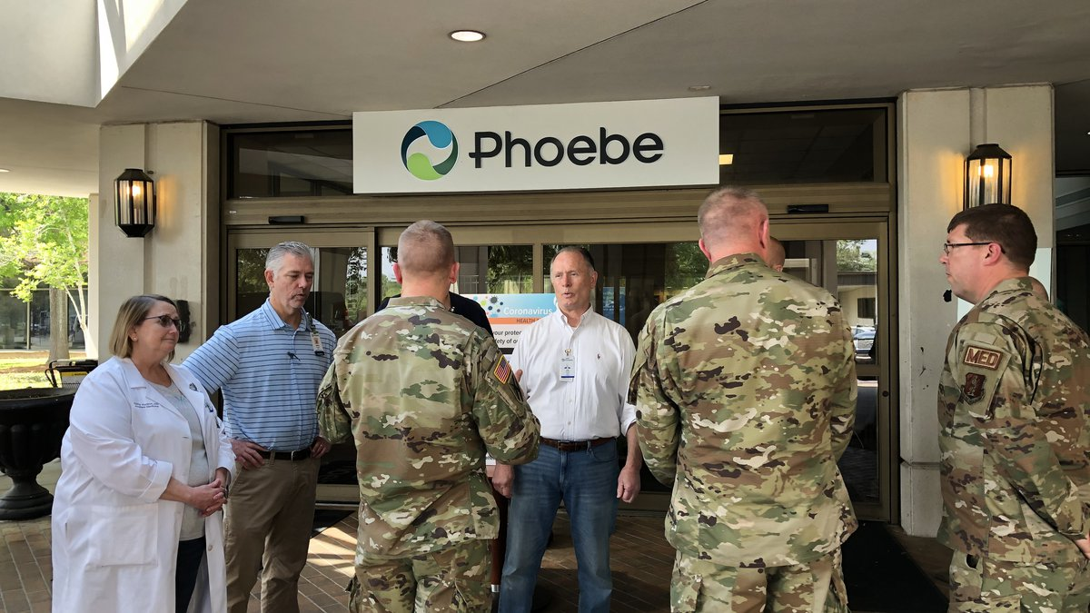Members of the Georgia National Guard meeting with Phoebe leaders.