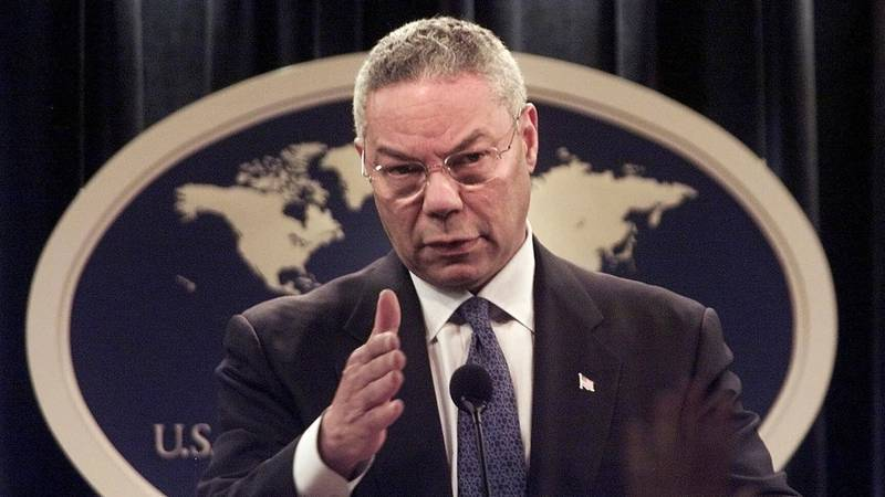 FILE - In this Monday, Sept. 17, 2001 file photo, Secretary of State Colin Powell speaks during...