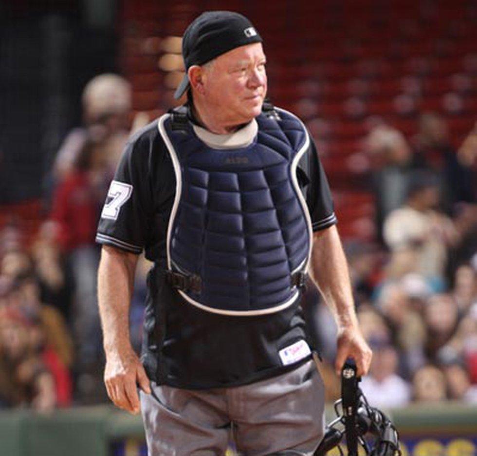 William Shatner, Capt. James T. Kirk of Star Trek, in full umpire gear at Fenway Park