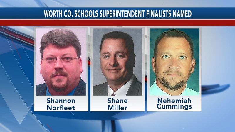 The Worth County school board has named three finalists for superintendent.