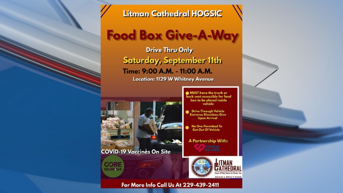 Litman Cathedral will host a food giveaway and COVID-19 vaccine event on Saturday.