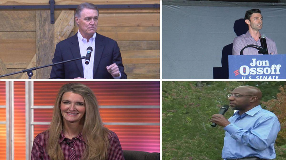 Incumbent Republican Senators David Perdue, top left, and Kelly Loeffler, bottom left, are...