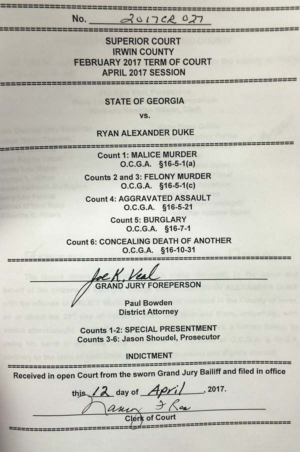 The document of indictment (Source: WALB)