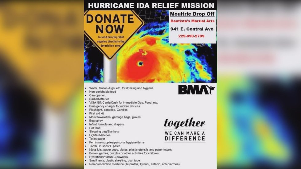 Items needed for the drive to help those impacted by Hurricane Ida.
