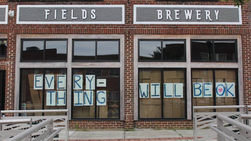Pretoria Fields Brewery displaying an encouraging sign in response to the COVID-19 pandemic.