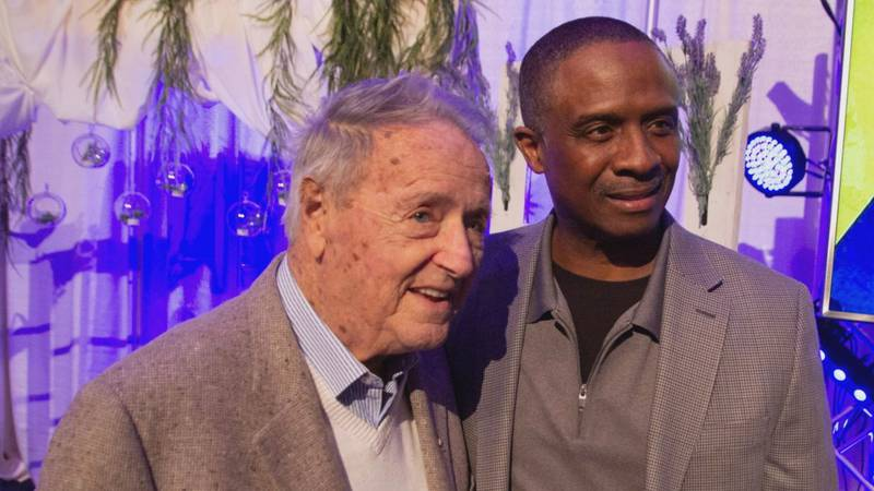 Bobby Bowden and Bobby Butler at a Fellowship of Christian Athletes event