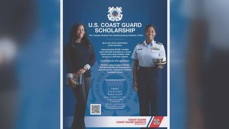 A scholarship program by the Coast Guard could pay up to two years of college tuition for...