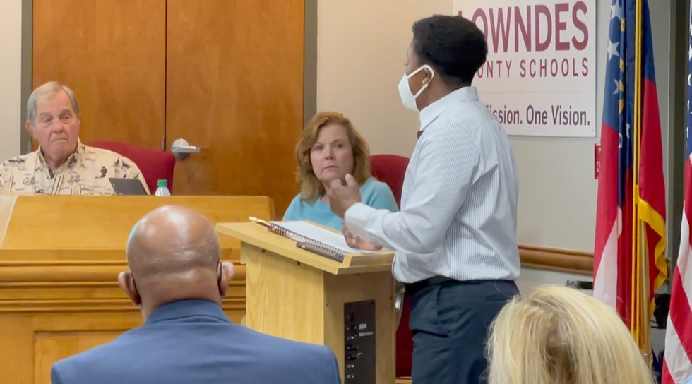 Lowndes High School Instructional Coach Treva Gear also spoke at the Monday school board meeting.