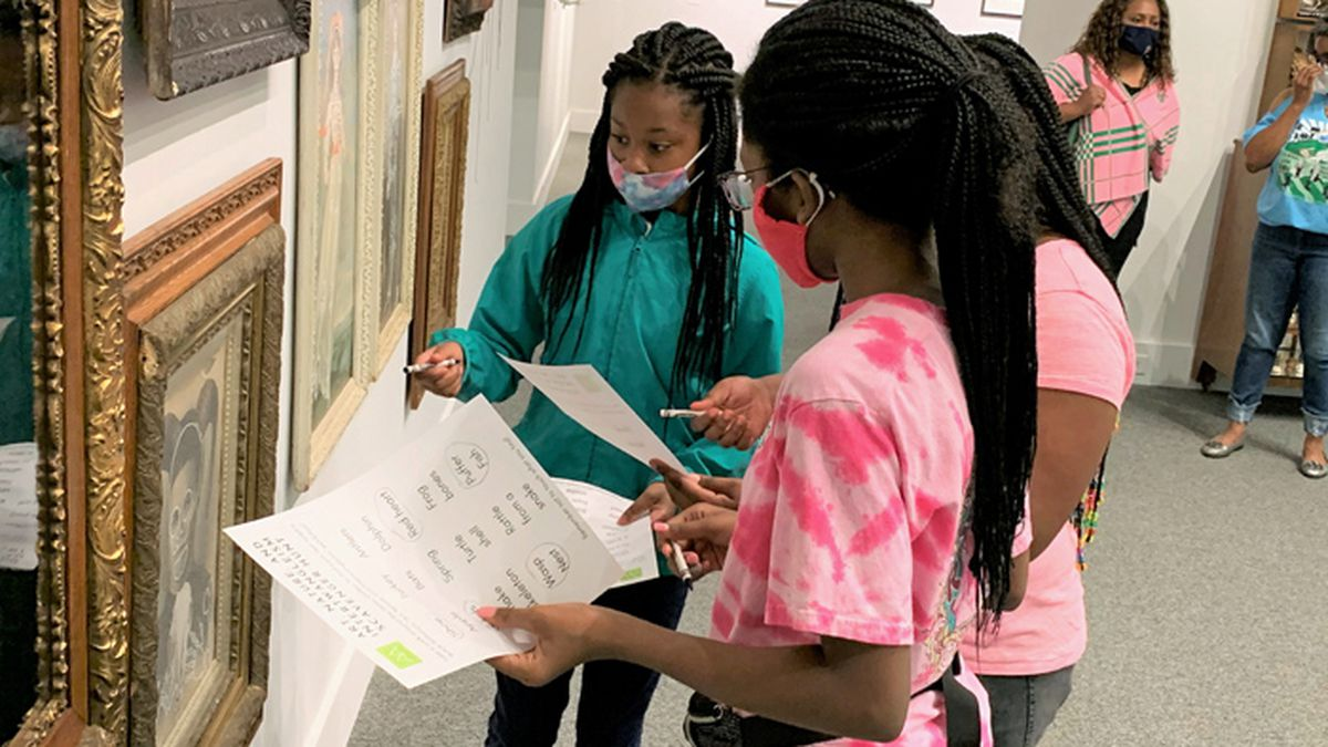 Members of the Albany Jack & Jill Club engage in a gallery scavenger hunt recently at the...