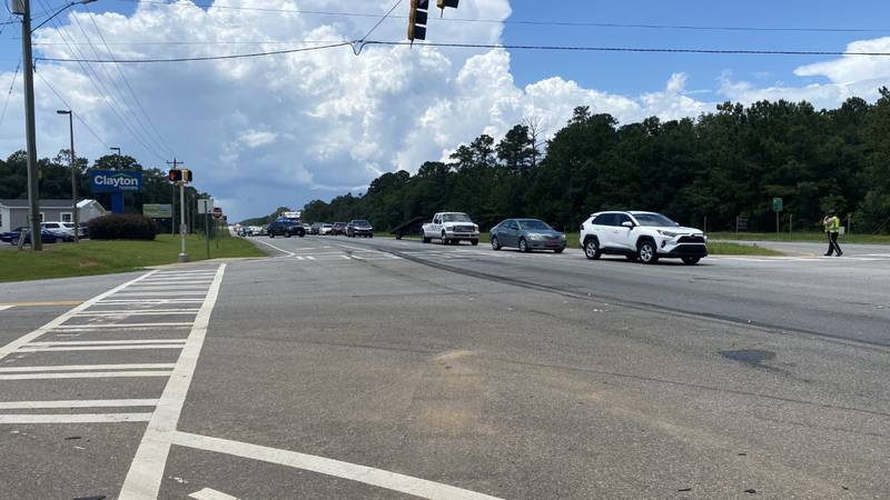 Traffic was backed up for a while following a wreck in Lee County Wednesday.