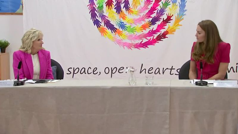 First lady Jill Biden and Duchess of Cambridge Kate Middleton take part in a news conference...