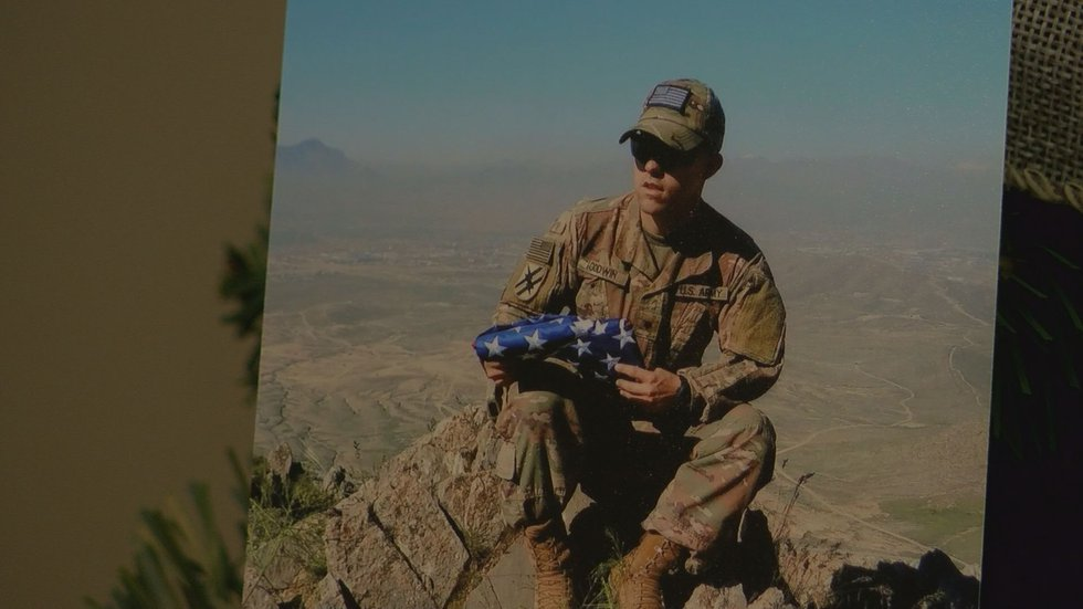 Jessica Sexton says her boyfriend, Justin Godwin is a National Guard infantryman who helped...