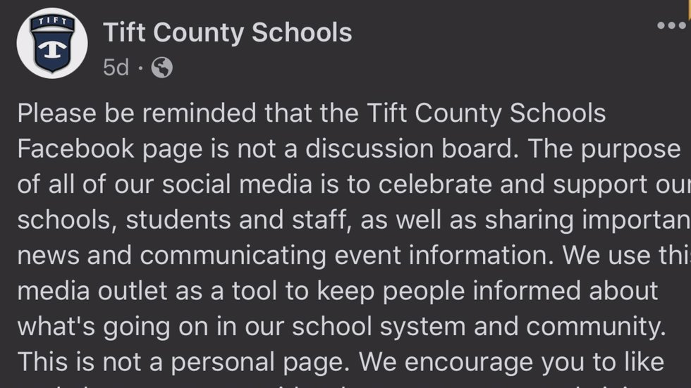 The school system turned off its comment section on its Facebook page.