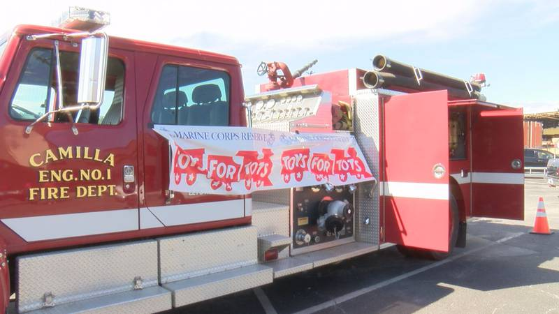 """Mitchell Co. Toys for Tots and the Camilla Fire Dept. partnered for the """"Stuff the Fire Truck""""..."""