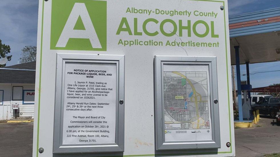 Notice of liquor license application.
