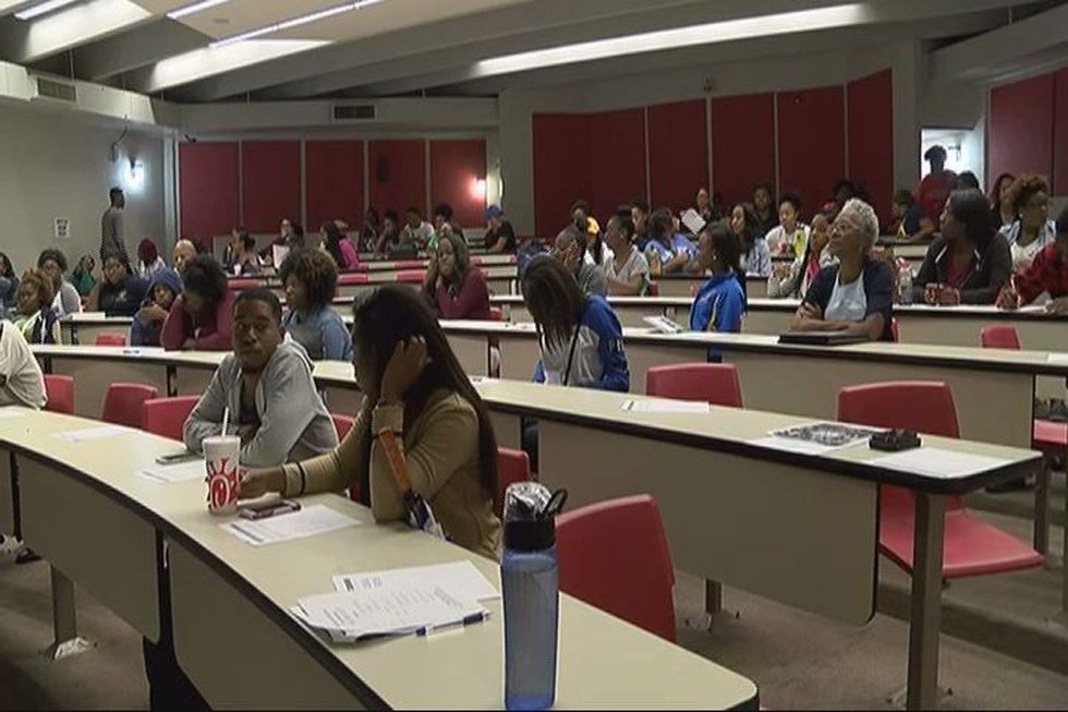 Students filled the room for the forum
