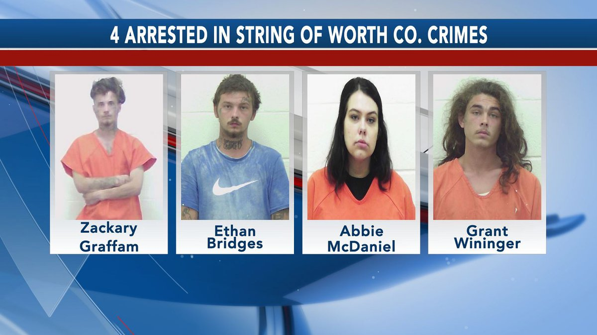 Zackary Graffam, Ethan Bridges, Abbie McDaniel and Grant Wininger were all charged in...