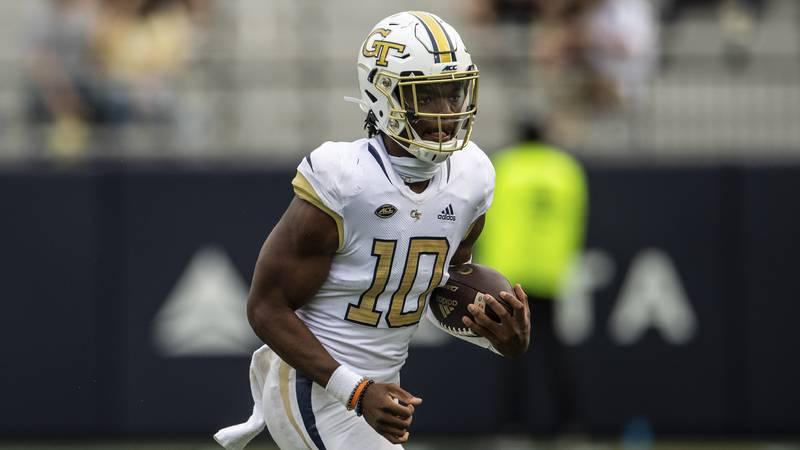 In this Saturday, Sept 19, 2020 photo, Georgia Tech quarterback Jeff Sims (10) runs against...