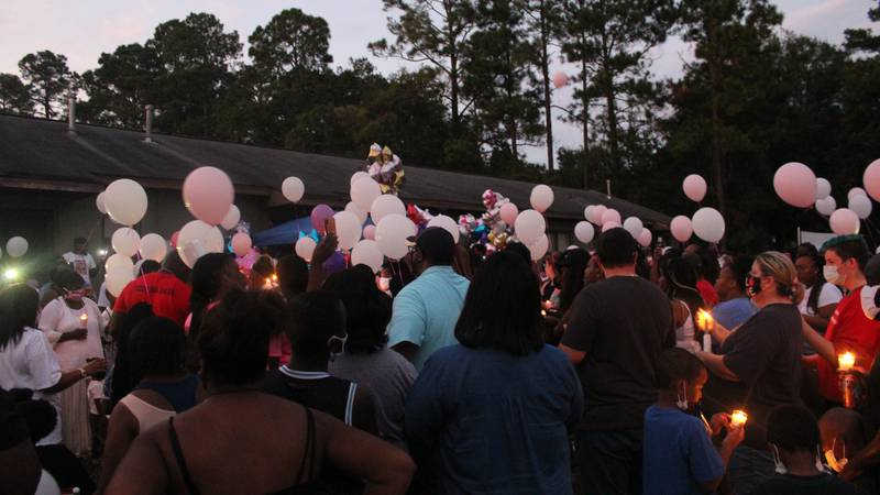Following the candlelight vigil, balloons were released.