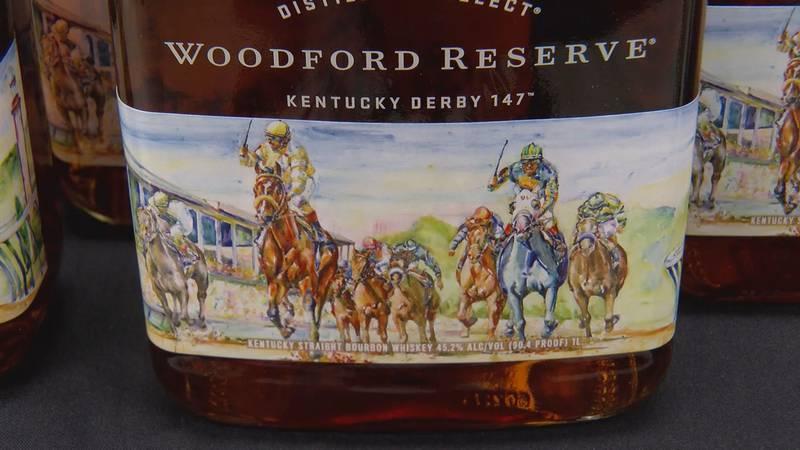 Artist Richard Sullivan's design on the Kentucky Derby 147 Woodford Reserve bottle.