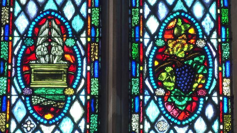 Stained glass windows at First United Methodist Church of Montgomery.
