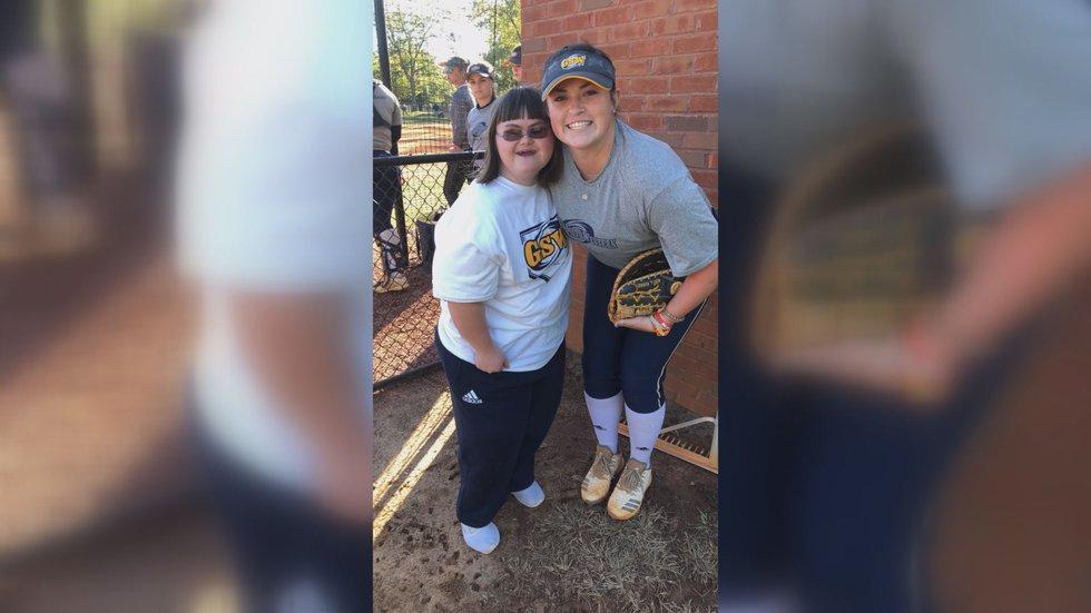 Lauren Kuerzi (right) and Becca Burnette (left) at a GSW softball game (Source: WALB)