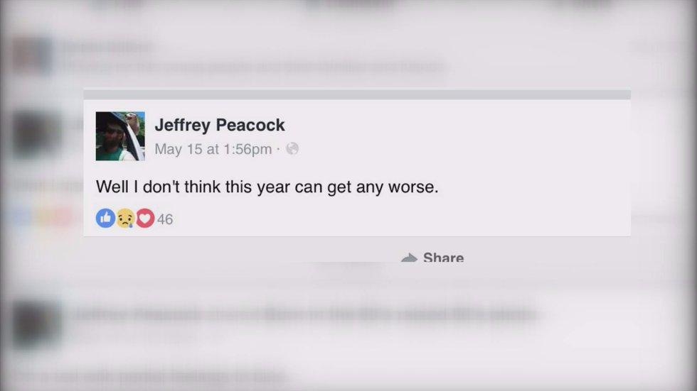 Peacock's last Facebook post (Source: Facebook)