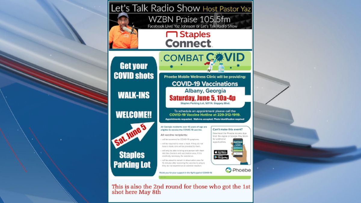 Flyer for Phoebe Health, Let's Talk Radio and Staples' mobile clinic