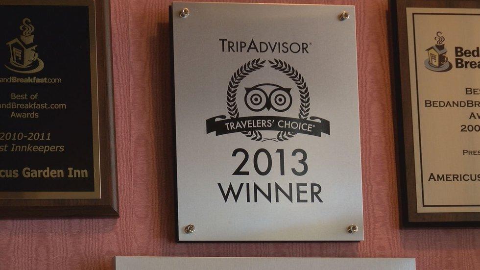 The 2013 award from Trip Advisor. The inn has received 8.